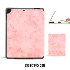 Apple iPad 9.7 inch 2018 Roze Book Case Tablethoes Smart Case - Marmer - Kunstleer