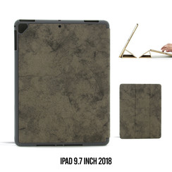 Apple iPad 9.7 inch 2018 Grijs Book Case Tablethoes Smart Case - Marmer - Kunstleer