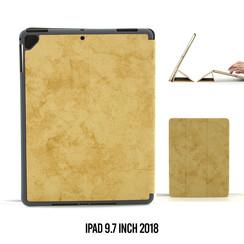 Apple iPad 9.7 inch 2018 Bruin Book Case Tablethoes Smart Case - Marmer - Kunstleer