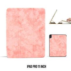 Apple iPad Pro 11 inch Roze Book Case Tablethoes Smart Case - Marmer - Kunstleer
