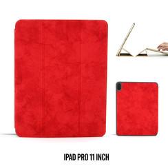 Apple iPad Pro 11 inch Rood Book Case Tablethoes Smart Case - Marmer - Kunstleer
