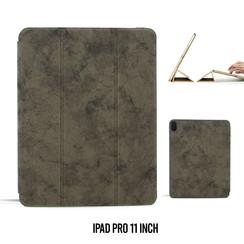 Apple iPad Pro 11 inch Grijs Book Case Tablethoes Smart Case - Marmer - Kunstleer
