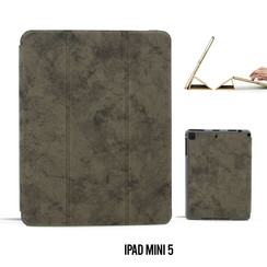 Apple iPad Mini 5 Grijs Book Case Tablethoes Smart Case - Marmer - Kunstleer