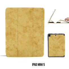 Apple iPad Mini 5 Bruin Book Case Tablethoes Smart Case - Marmer - Kunstleer