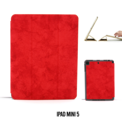 Apple iPad Mini 5 Rood Book Case Tablethoes Smart Case - Marmer - Kunstleer