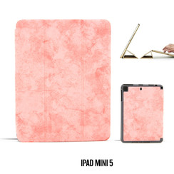 Apple iPad Mini 5 Roze Book Case Tablethoes Smart Case - Marmer - Kunstleer