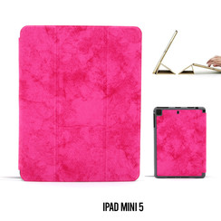 Apple iPad Mini 5 Hot Pink Book Case Tablethoes Smart Case - Marmer - Kunstleer