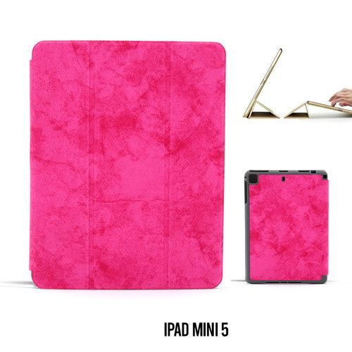Andere merken Apple iPad Mini 5 Hot Pink Book Case Tablethoes Smart Case - Marmer - Kunstleer