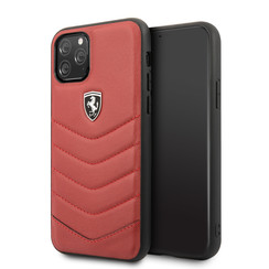 Apple iPhone 11 Pro Max Ferrari Back-Cover hul Quilted Rot -Hard - TPU;kunstleder
