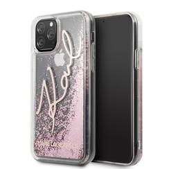 Apple iPhone 11 Pro Karl Lagerfeld Back-Cover hul Glitter Rose Gold -Signature - TPU;kunstleder
