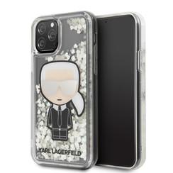 Apple iPhone 11 Pro Max Karl Lagerfeld Back-Cover hul Glitter Grau -Ikonik Mirror - TPU;kunstleder