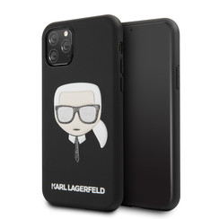 Apple iPhone 11 Pro Max Karl Lagerfeld Back-Cover hul Glitter Schwarz -Iconinc Embossed - TPU;kunstleder
