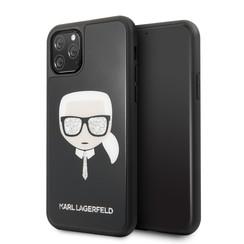 Apple iPhone 11 Pro Max Karl Lagerfeld Back-Cover hul Glitter Schwarz -Signature - TPU;kunstleder