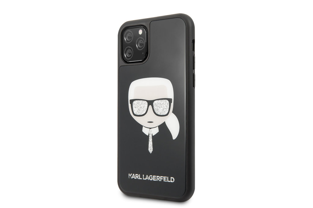 Karl Lagerfeld Apple iPhone 11 Pro Max Zwart Karl Lagerfeld Backcover hoesje Glitter - Signature - KLHCN65DLHBK