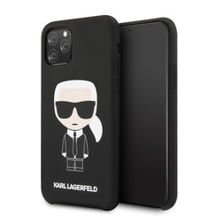 Apple iPhone 11 Pro Max Karl Lagerfeld Back-Cover hul Iconic Schwarz -Full Body - TPU;kunstleder