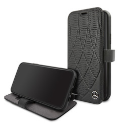 Apple iPhone 11 Pro Mercedes-Benz Book-Case hul Quilted Perf Schwarz -Genuine Leather - TPU;Echtes Leder