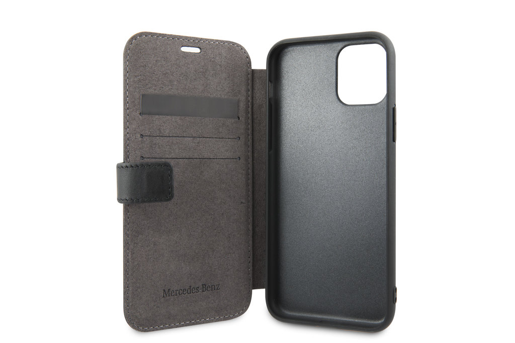 Mercedes-Benz Apple iPhone 11 Pro Mercedes-Benz Book type housse Quilted Perf Noir - Genuine Leather