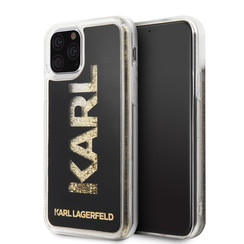 Apple iPhone 11 Pro Max Karl Lagerfeld Back-Cover hul Glitter Gold -Karl - TPU;kunstleder