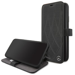 Apple iPhone 11 Pro Max Mercedes-Benz Book-Case hul Quilted Perf Schwarz -Genuine Leather - TPU;Echtes Leder