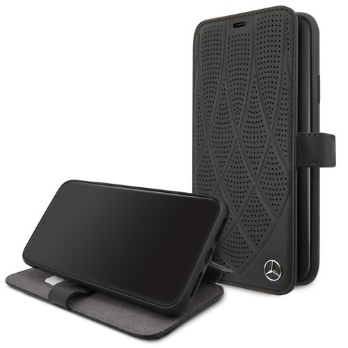 Mercedes-Benz Apple iPhone 11 Pro Max Mercedes-Benz Book type case Quilted Perf Black for iPhone 11 Pro Max Genuine Leather