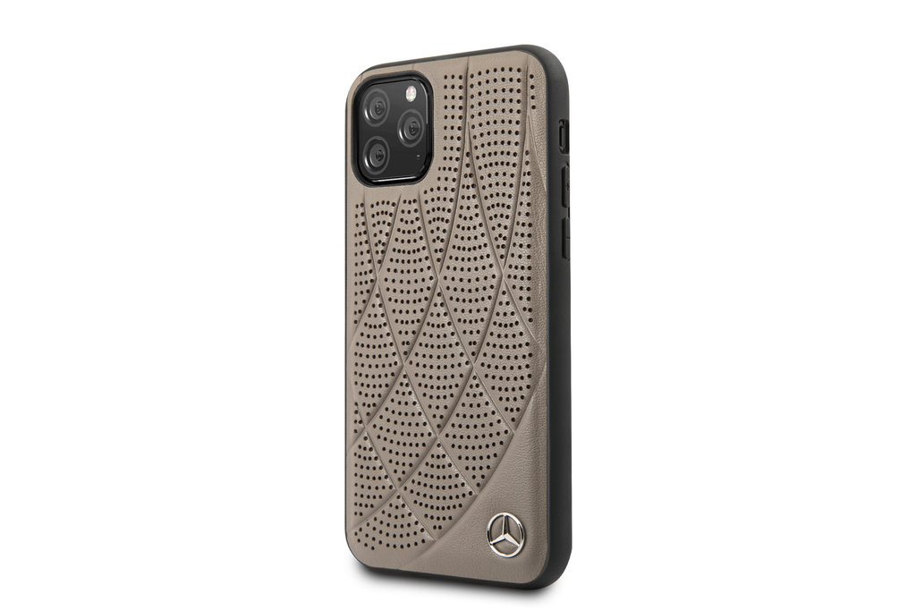 Mercedes-Benz Apple iPhone 11 Pro Mercedes-Benz Back cover case Quilted Perf Brown for iPhone 11 Pro Genuine Leather