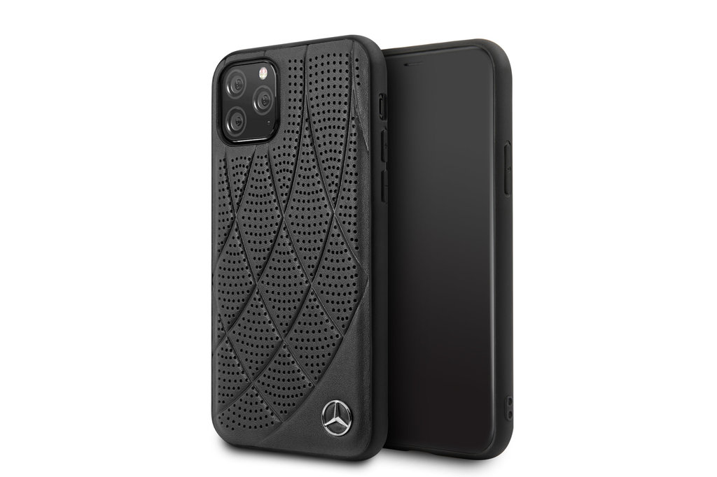 Mercedes-Benz Apple iPhone 11 Pro Zwart Mercedes-Benz Backcover hoesje Quilted Perf - Genuine Leather - MEHCN58DIQBK