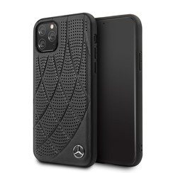 Apple iPhone 11 Pro Mercedes-Benz Back-Cover hul Quilted Perf Schwarz -Genuine Leather - TPU;Echtes Leder