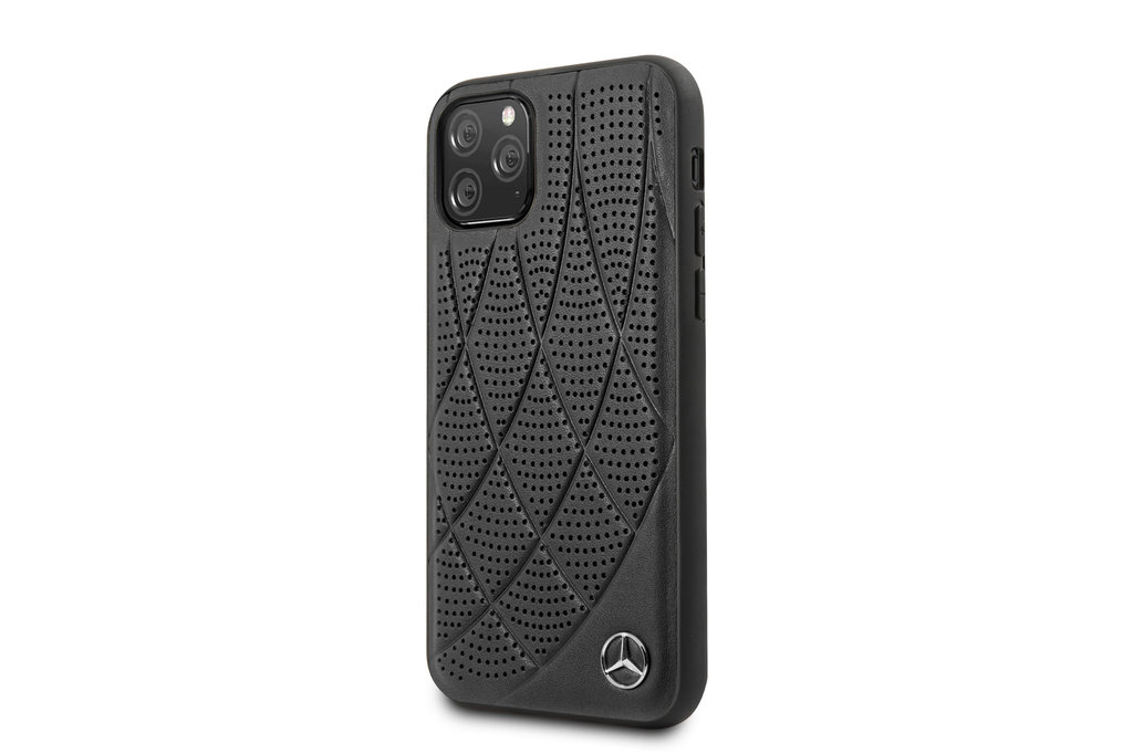 Mercedes-Benz Apple iPhone 11 Pro Mercedes-Benz Back cover coque Quilted Perf Noir - Genuine Leather
