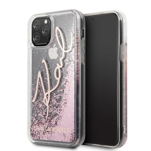 Karl Lagerfeld Apple iPhone 11 Pro Max Rose Gold Karl Lagerfeld Backcover hoesje Glitter - Signature - KLHCN65TRKSRG