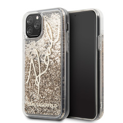 Apple iPhone 11 Pro Max Goud Karl Lagerfeld Backcover hoesje Glitter - Signature - KLHCN65TRKSGO