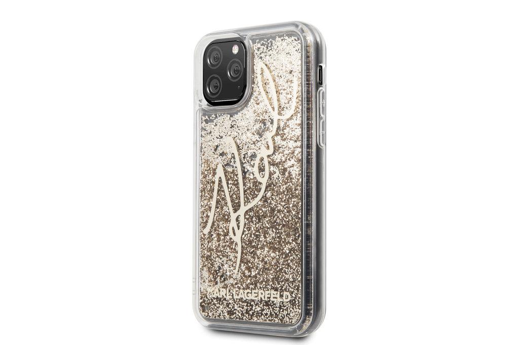 Karl Lagerfeld Apple iPhone 11 Pro Max Goud Karl Lagerfeld Backcover hoesje Glitter - Signature - KLHCN65TRKSGO