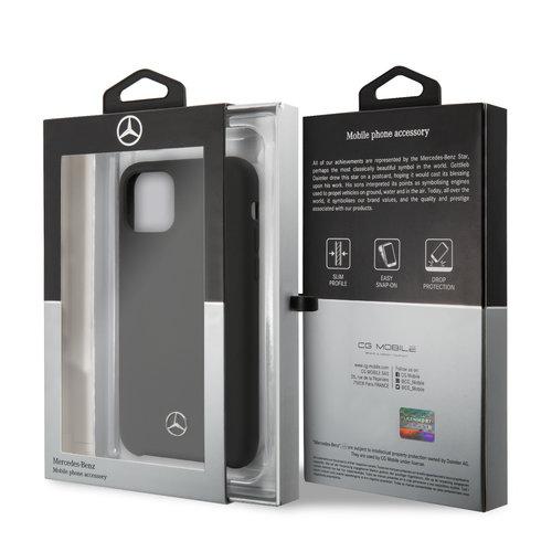 Mercedes-Benz Apple iPhone 11 Pro Zwart Mercedes-Benz Backcover hoesje Liquid - Microfiber - MEHCN58SILBK