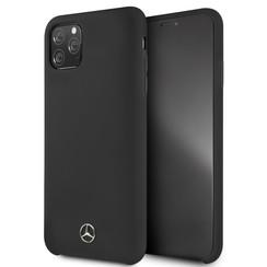 Apple iPhone 11 Pro Max Mercedes-Benz Back-Cover hul Liquid Schwarz -Microfiber - TPU;kunstleder