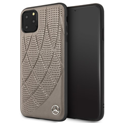 Apple iPhone 11 Pro Max Mercedes-Benz Back-Cover hul Quilted Perf Braun -Genuine Leather - TPU;Echtes Leder