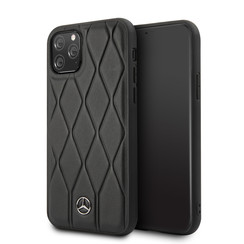 Apple iPhone 11 Pro Max Mercedes-Benz Back-Cover hul Quilted Perf Schwarz -Genuine Leather - TPU;Echtes Leder
