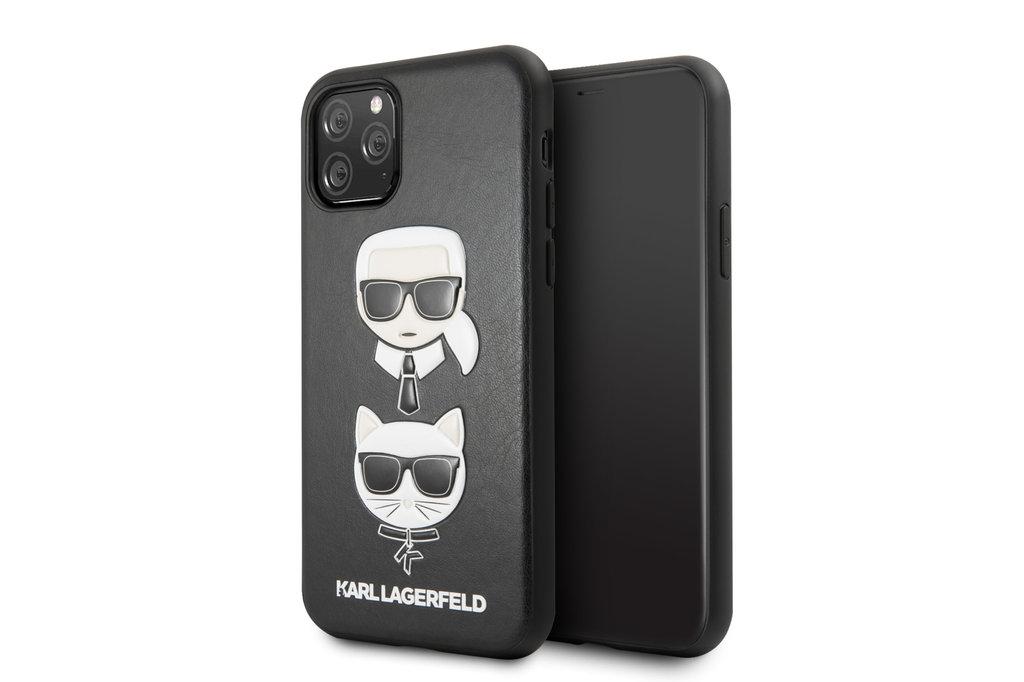 Karl Lagerfeld Apple iPhone 11 Pro Max Zwart Karl Lagerfeld Backcover hoesje Choupette - Embossed - KLHCN65KICKC