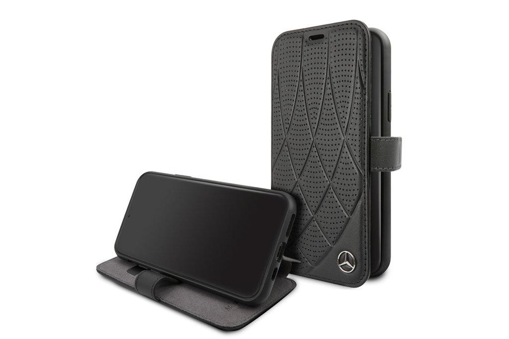 Mercedes-Benz Apple iPhone 11 Pro Zwart Mercedes-Benz Booktype hoesje Quilted Perf - Genuine Leather - MEFLBKN58DIQBK
