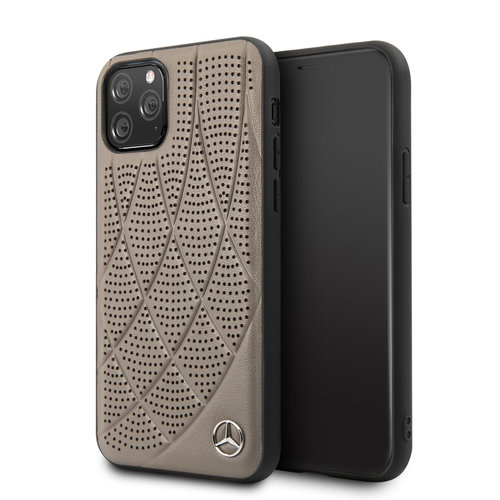 Mercedes-Benz Apple iPhone 11 Pro Mercedes-Benz Back cover coque Quilted Perf Marron - Genuine Leather