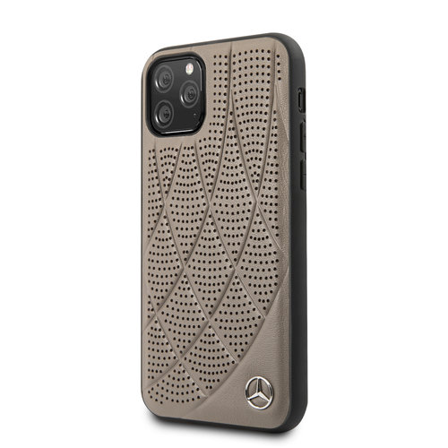 Mercedes-Benz Apple iPhone 11 Pro Bruin Mercedes-Benz Backcover hoesje Quilted Perf - Genuine Leather - MEHCN58DIQBR