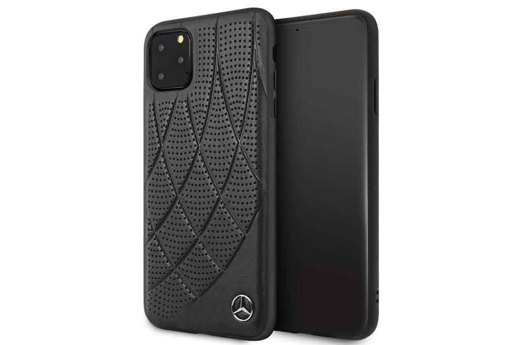 Mercedes-Benz Apple iPhone 11 Pro Max Zwart Mercedes-Benz Backcover hoesje Quilted Perf - Genuine Leather - MEHCN65DIQBK