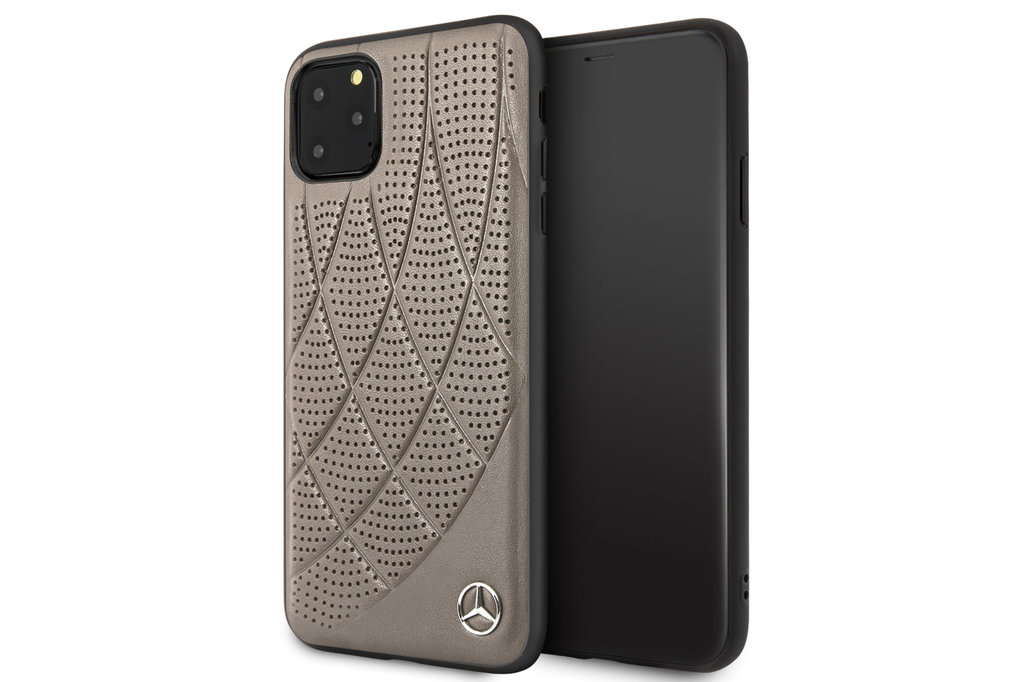 Mercedes-Benz Apple iPhone 11 Pro Max Mercedes-Benz Back cover case Quilted Perf Brown for iPhone 11 Pro Max Genuine Leather