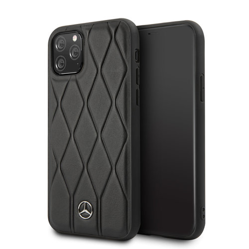 Mercedes-Benz Apple iPhone 11 Pro Max Zwart Mercedes-Benz Backcover hoesje Quilted Perf - Genuine Leather - MEHCN65MULBK