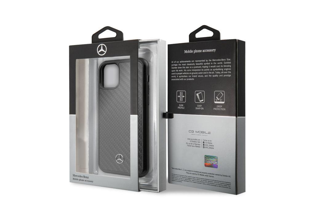 Mercedes-Benz Apple iPhone 11 Pro Max Zwart Mercedes-Benz Backcover hoesje Carbon Fiber - Carbon - MEHCN65RCABK