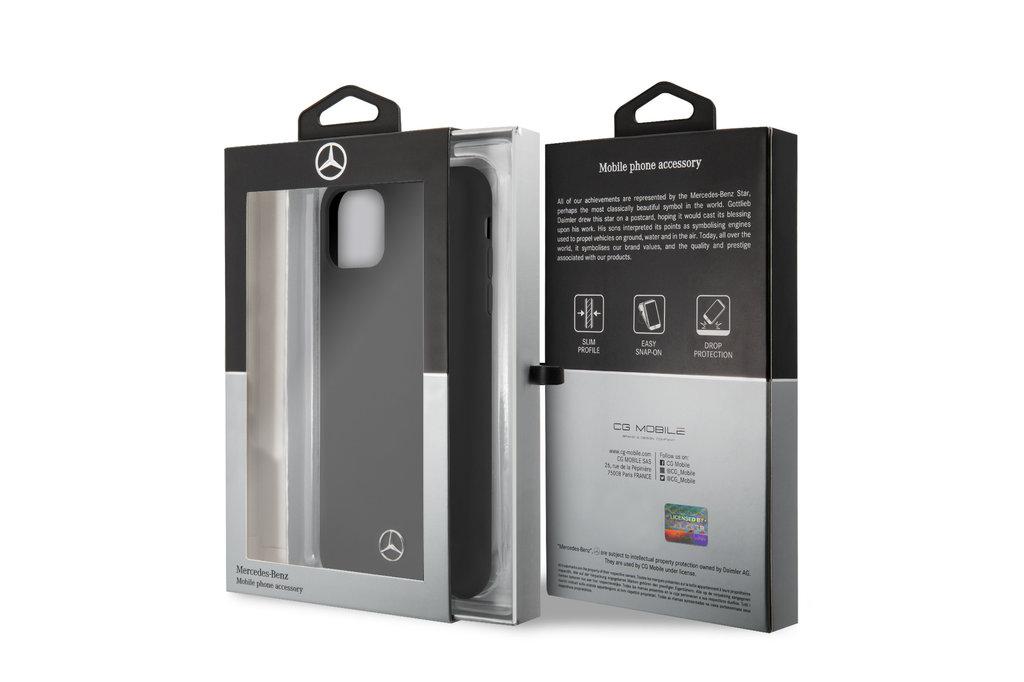 Mercedes-Benz Apple iPhone 11 Pro Max Zwart Mercedes-Benz Backcover hoesje Liquid - Microfiber - MEHCN65SILBK