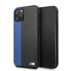 Apple iPhone 11 Pro BMW Back cover coque PU Leather Bleu - Contrast Strip