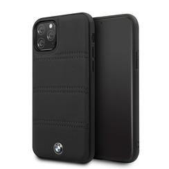 Apple iPhone 11 Pro Max Zwart BMW Backcover hoesje Hardcase - Real Leather - BMHCN65PELBK