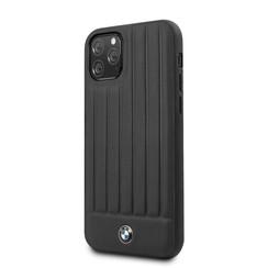 Apple iPhone 11 Pro Max BMW Back-Cover hul Stamped Lines Schwarz -Real Leather - TPU;kunstleder