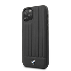 Apple iPhone 11 Pro Max Zwart BMW Backcover hoesje Stamped Lines - Real Leather - BMHCN65POCBK