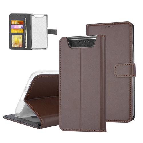 Andere merken Samsung Galaxy A80 Bruin Booktype hoesje Pasjeshouder - Magneetsluiting