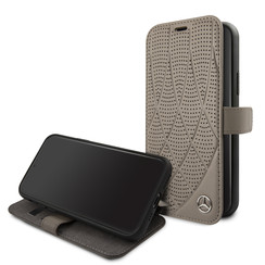 Apple iPhone 11 Pro Mercedes-Benz Book-Case hul Quilted Perf Braun -Genuine Leather - TPU;Echtes Leder